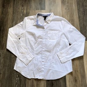 Classic H&M White & Blue Cotton Long sleeve Shirt